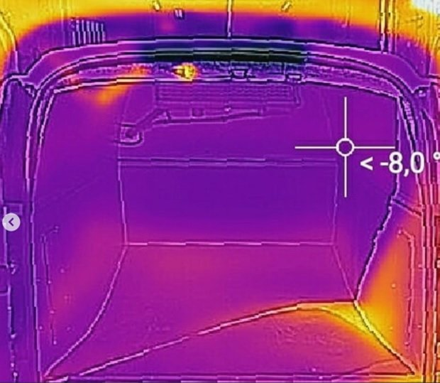 Фургон внутри при температуре